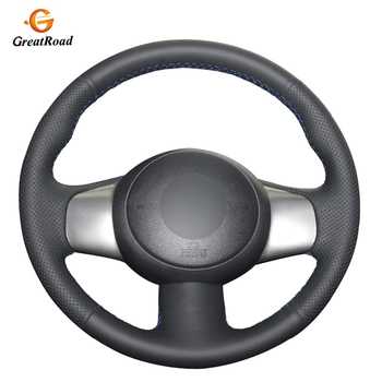 Hand-stitched Black  Genuine leather Car Steering Wheel Covers for Nissan March 2010-2015 Sunny 2011-2013 Versa 2012-2014