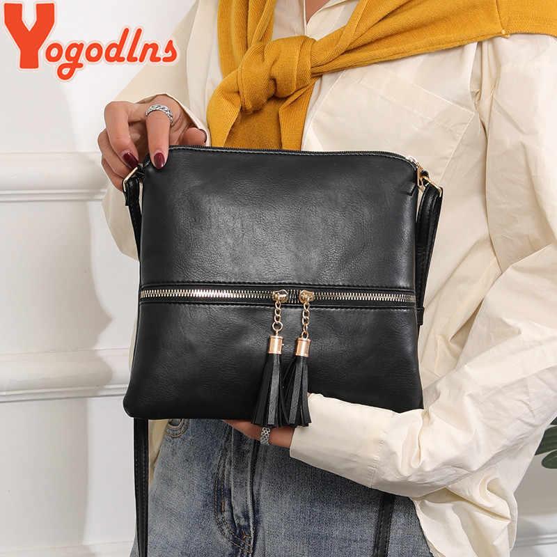 Yogodlns 2020 moda kadın Crossbody çanta Vintage askılı çanta yüksek kaliteli Retro püsküller omuzdan askili çanta Patchwork Crossbody çanta