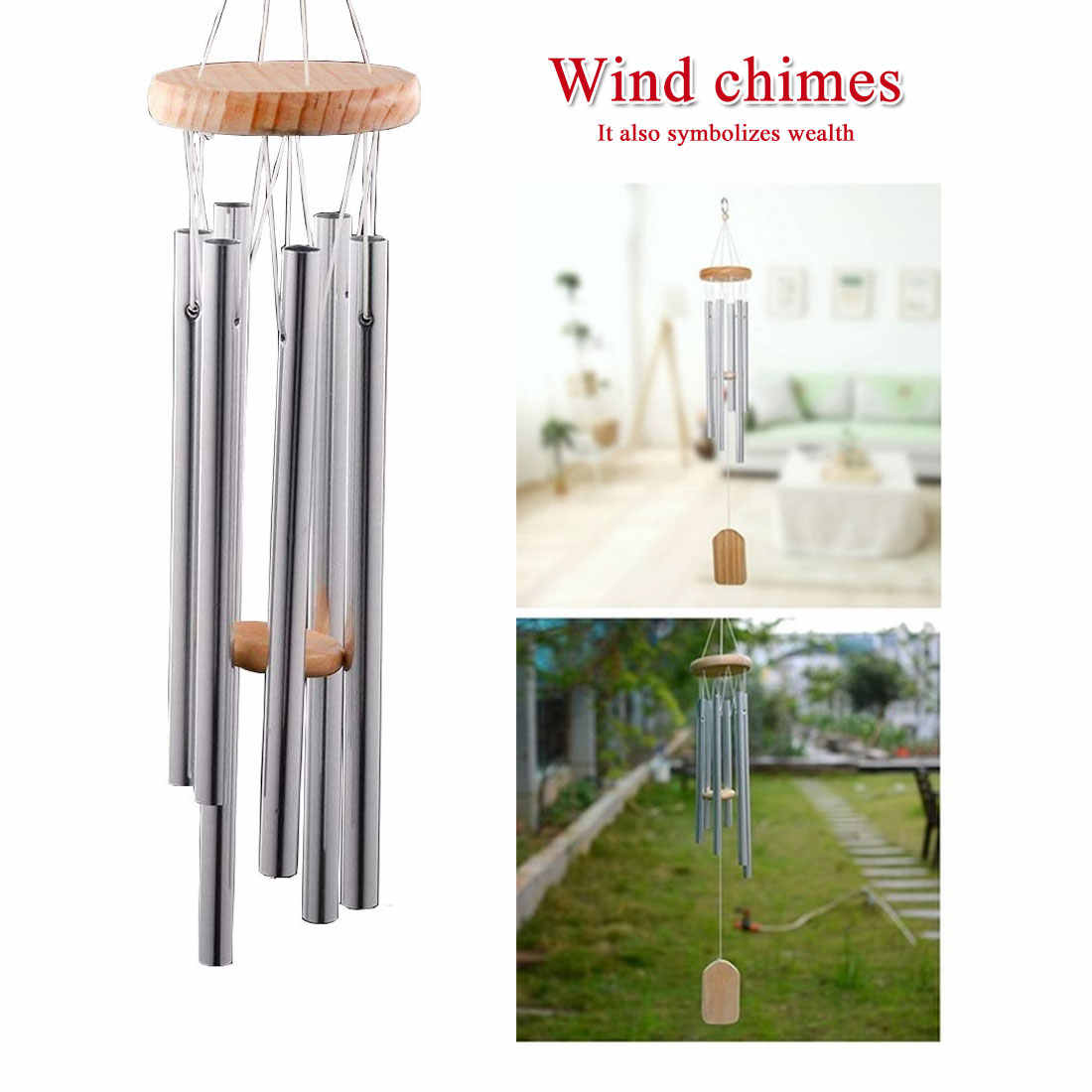 "Wind Chimes Large Tone Resonant Bell 6 Tubes Chapel Church Garden Decor 24/"""