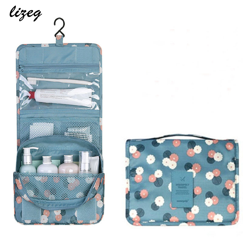 Cosmetic-Bag Handbag Storage Hanging Travel Zipper Large-Capacity Waterproof Ladies Polyester