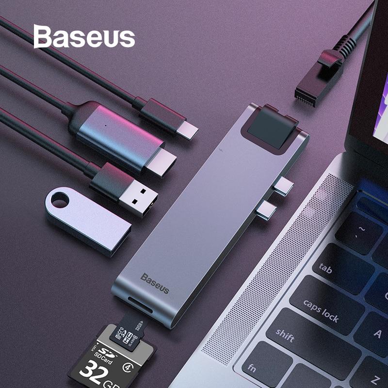 Baseus Dual-Tipo C RJ45 7in1 USB 3.0 Tipo C HDMI HUB Adaptador para MacBook Pro OTG HUB USB 3.0 PC divisor Acessório de Computador