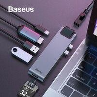 Baseus USB C HUB to Multi USB 3.0 HDMI USB HUB for MacBook Pro USB Splitter 7 Ports Thunderbolt 3 HUB RJ45 Dual USB Type C HUB
