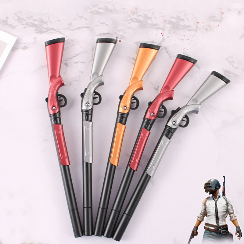 1pcs Kids Games Weapons Gel Pen Creative Plastic Rifle Gun Shape Pen Children's Toys Pens Black Ink 0.5mm School Stationery