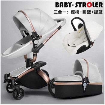 3 in 1 Baby Stroller 360 Degree Rotate Carriage Gold Grame PU Pram EU Safety Car Seat with Bassinet Newborn 0-3 Years Old Baby image
