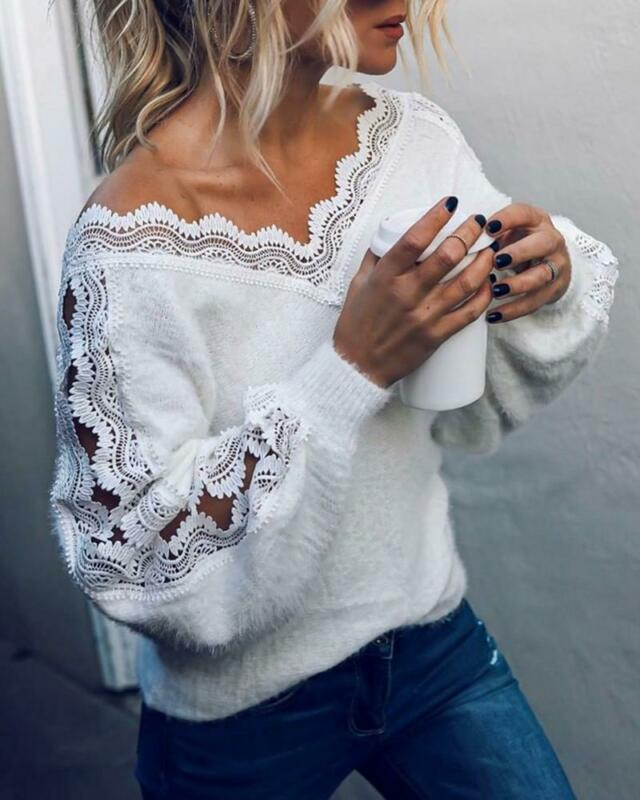 Autumn Women Lace V-neck Tops Blouse Ladies Casual Loose Sweater Warm   Woman Clothes Plus Size Ropa Mujer