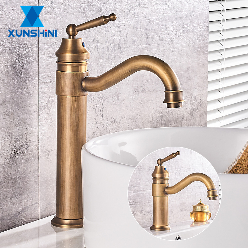 XUNSHINI Europe Classic Style Antique Copper Bathroom Basin Faucet Cold And Hot Water Mixer Single Handle Deck Mounted Tap