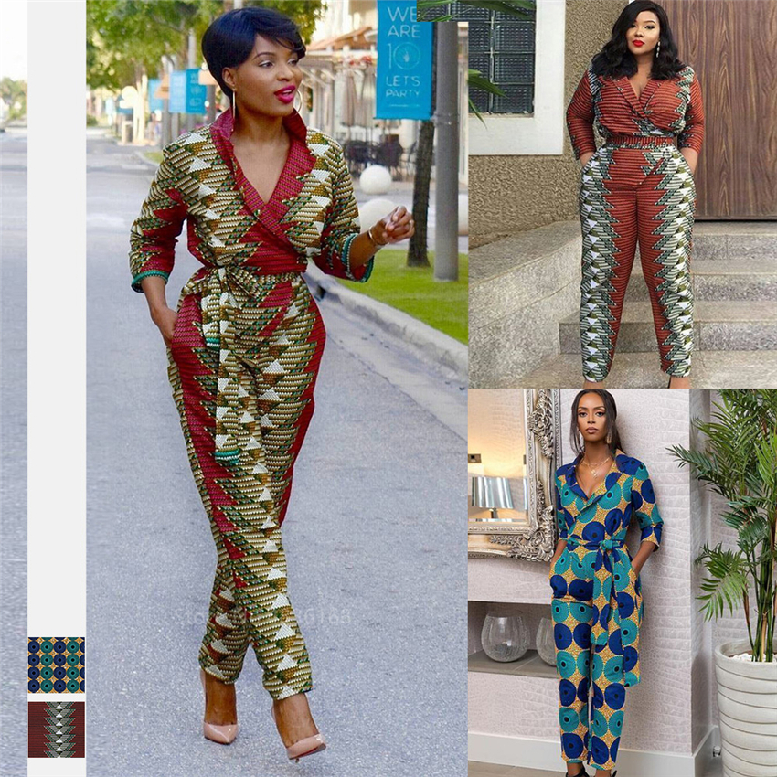 Autumn Robe Africaine 2020 News African Dresses For Women Shoulder Off Dashiki Print Fashion V Neck Jumpsuit Plus Ladies Clothes