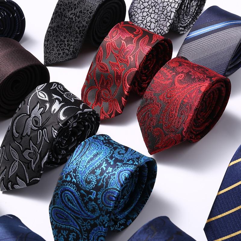 Luxury 6CM Men's Print Pattern Ties For Men's Floral Neckties Polyester Jacquard Slim Neck Tie Formal Dress Wedding Mens Ties