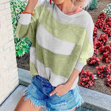 Women Knitted Sweater Autumn Fashion Contrast O-Neck Striped Sexy Batwing Sleeve Pullover Patchwork Print Tops  D30 contrast panel batwing sleeve tee