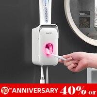 Dispensador de creme dental  porta escova de dentes automático de plástico para parede  conjunto para acessórios do banheiro