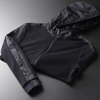 Sweatshirts Luxury Hooded Side Knitted Add Velvet Sweatshirt Male Plus Size 4xl Autumn And Winter Slim Hoodies Men