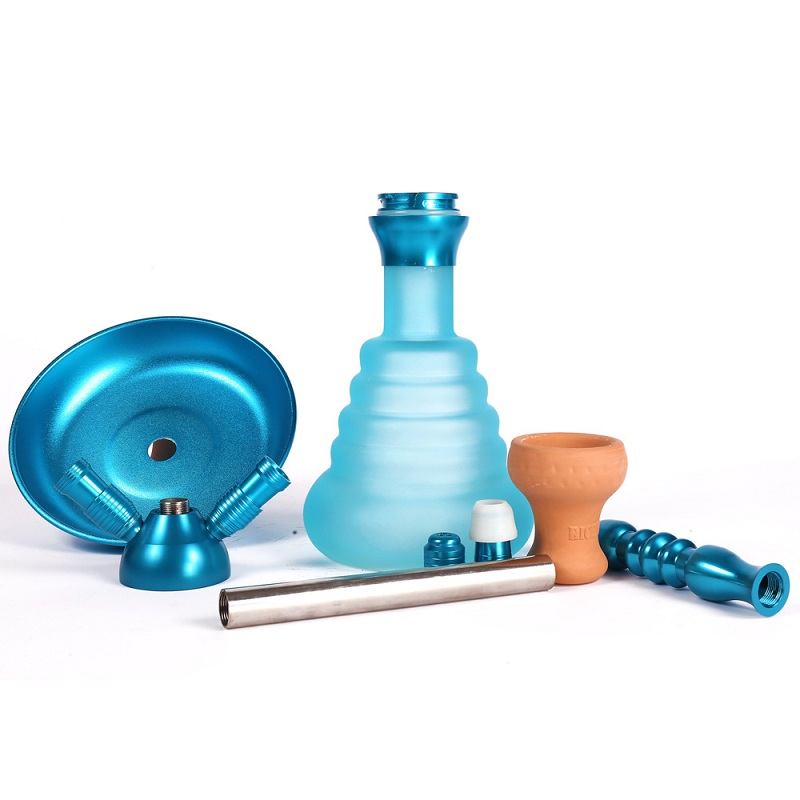 Middle Size Double Hose Glass Hookah Travel Shisha Pipe Set