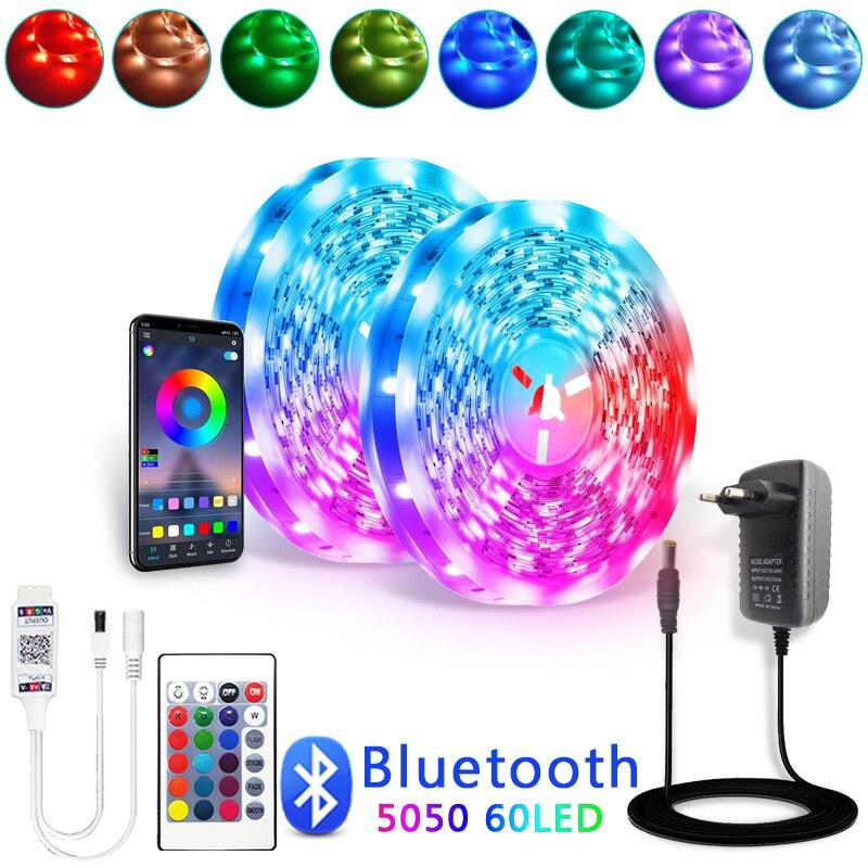 Bluetooth Светодиодные ленты светильник RGB 5050 SMD 2835 гибкая лента Fita светодиодный светильник RGB 5 м 10 м 15 м клейкие диода DC12V 60LED/M + адаптер