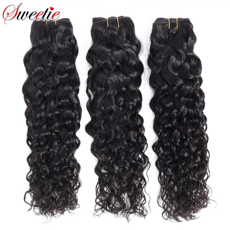 "Image 1 - Sweetie Water Wave Bundles Indian Hair Extensions 8"" 28"" Natural Black Human Hair Weave Bundles 1/3/4 Pieces Non Remy Hair-in Hair Weaves from Hair Extensions & Wigs"