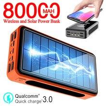 80000mAh batterie Portable solaire Qi sans fil Portable téléphone chargeur rapide charge externe 4 USB Camping extérieur lumières Powerbank