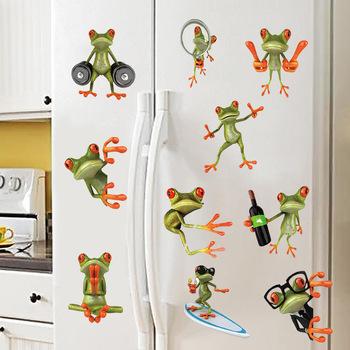 Cartoon Funny 10 Pose Frog naklejki ścienne do samochodu toaleta lodówka chłopcy dekoracje do wnętrz do sypialni Diy Hole fototapeta naklejki z pvc tanie i dobre opinie Jednoczęściowy pakiet Naklejka ścienna samolot Na ścianie Meble Naklejki Do płytek WALL Zwierząt Cartoon Frog As the picture shows