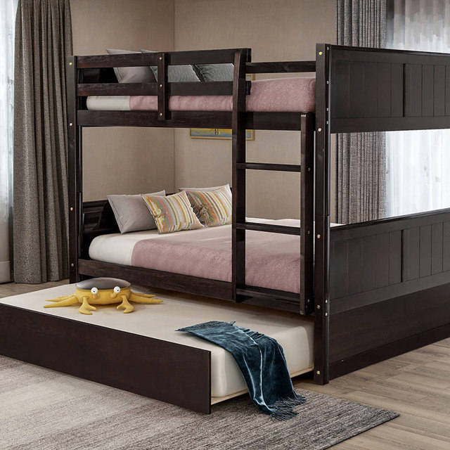 Bunk Bed with Twin Size Trundle w/  Ladder  3