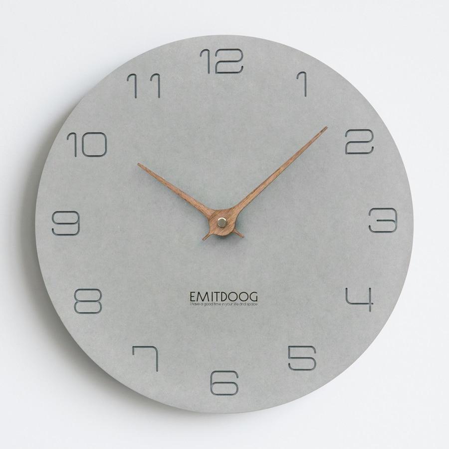 Grande horloge murale en bois Design moderne Simple pour salon nordique bref horloges en bois montre murale décor à la maison silencieux 15 pouces