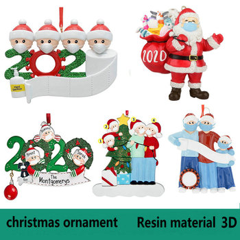 3D Resin 2020 Christmas Ornament Pendant Family Gift Decoration Birthdays Party Decoration Gift Santa Claus Xmas Tree Ornament image