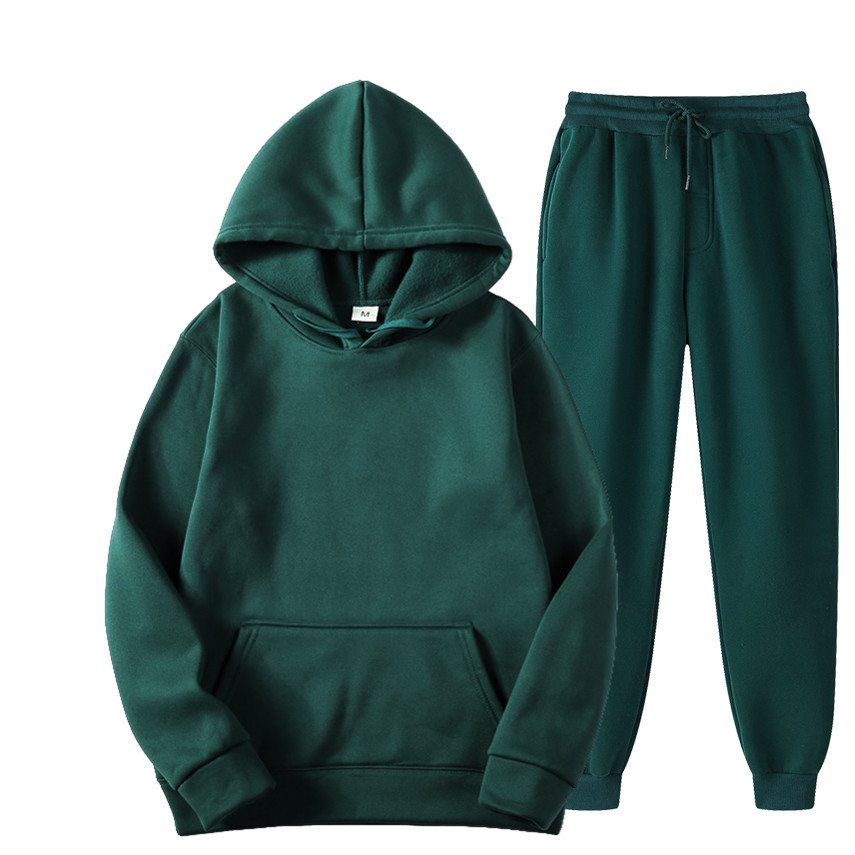 Мужские однотонные Цвет повседневные комплекты одежды новые осенние мужские толстовки с капюшоном + брюки комплект одежды из двух предмето...