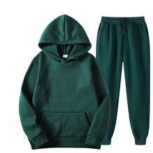 Conjuntos casuais de cor sólida dos homens outono novos hoodies + calças de duas peças de treino na moda conjunto de roupas esportivas masculinas 2 peças