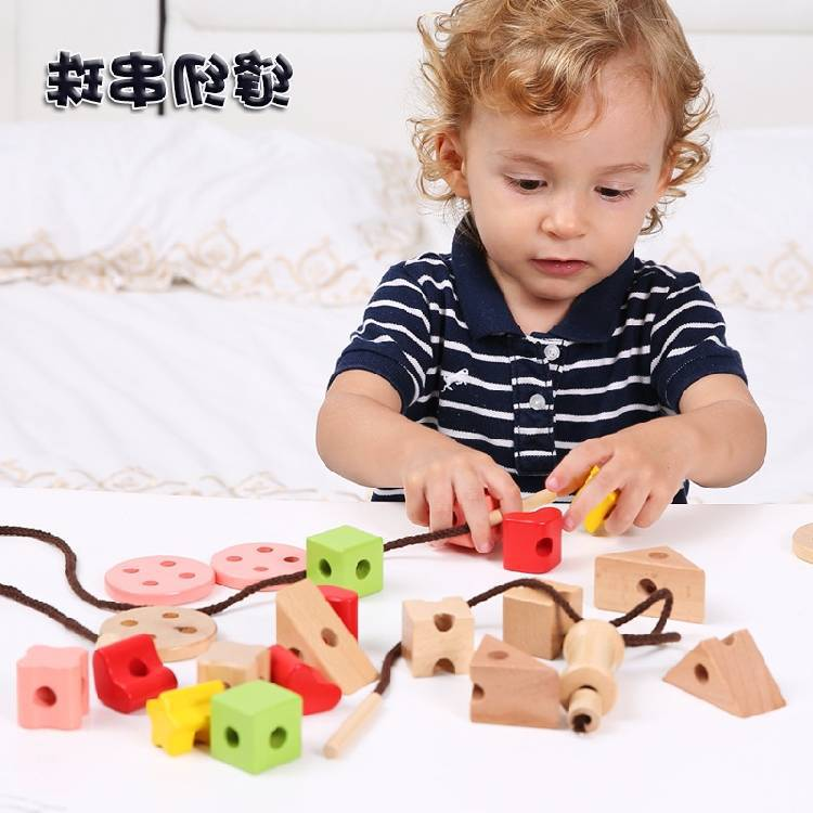 Wei Huai Wooden Sewing Button Rb95 Children Beaded Bracelet Game Intelligence Threading Perforation Toy Creative Large