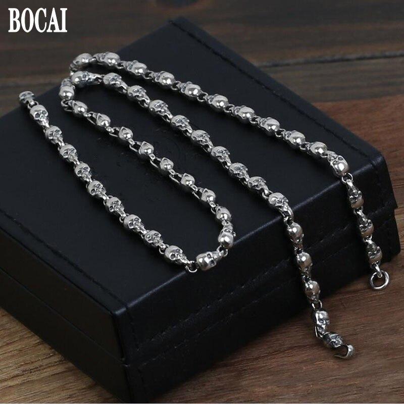 Nouveau 100% réel S925 pur argent accessoires mode Thai argent crâne collier pour homme argent chaîne homme argent collier