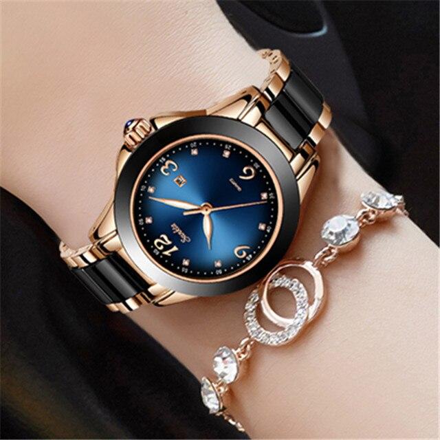 SUNKTA Fashion Women Watches Rose Gold Ladies Bracelet Reloj Mujer 2019 New Creative Waterproof Quartz Ceramic