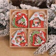 12 Teile/schachtel Multi Weihnachten Holz Anhänger Elch Schneemann Weihnachten Baum Hängen Ornamente Holz Handwerk Für Neue Jahr Weihnachten Decor Geschenke