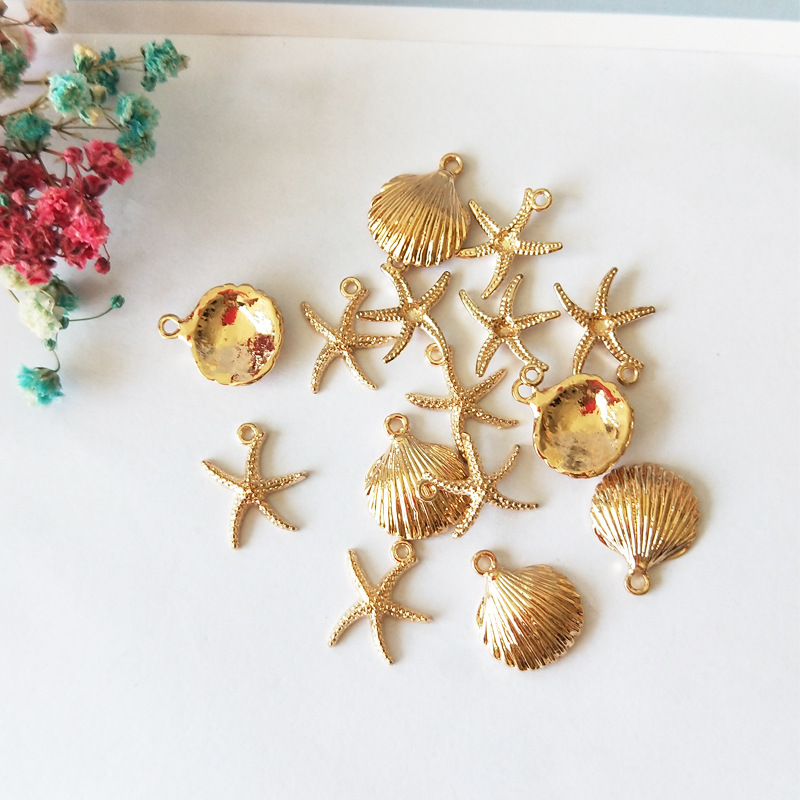 20pcs/lot Starfish Shell Alloy Charms Floating Gold ColorTone Starfish Anklet Bracelet Necklace DIY Handmade Accessories Craft