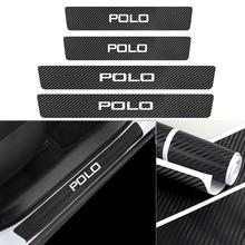 Autocollant de Protection de seuil de porte de voiture en Fiber de carbone, 4 pièces, pour VW GTI Polo Golf Passat Magotan Arteon