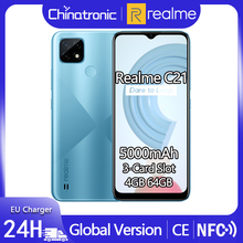 realme C21 4GB 64GB Global Version Android 10 Mobile Phone 6 5 #8243 HD Helio G35 5000mAh 13MP AI Triple Camera 10W EU Charger 3-Card cheap Not Detachable Other CN(Origin) Fingerprint Recognition Adaptive Fast Charge english Russian German French Spanish POLISH