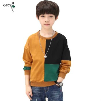 Fashion Patchwork Pattern Knitwear Casual Style Autumn Knitted Boys Sweaters Hot Students Woolen Children's Clothes T-shirt 5-16