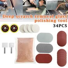 Newly 34pcs/Set Deep Scratch Remover Car Glass Polishing Kit Cerium Oxide Powder Sanding Disc TE889 cerium oxide glass polishing cila 230g glass polishing powder cerium oxide