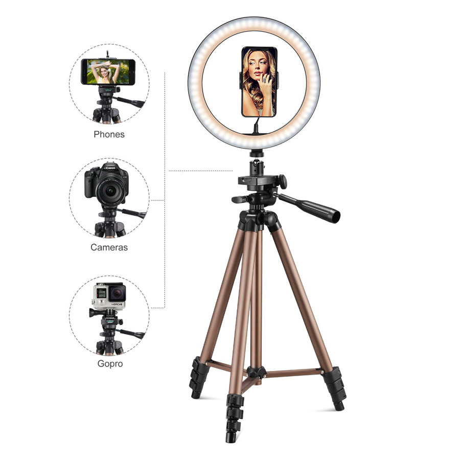 26 cm LED ring light Adjustable tripod for Youtube makeup phone Selfie with tripod stand phone Clip For xiaomi huawei etc phone