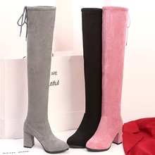 2020 new winter round head ladies over the knee boots with sexy high heels autumn women's shoes winter women's boots size 34-45 17cm high heels autumn and winter sexy waterproof straps with rome slope with boots increased in the women s shoes