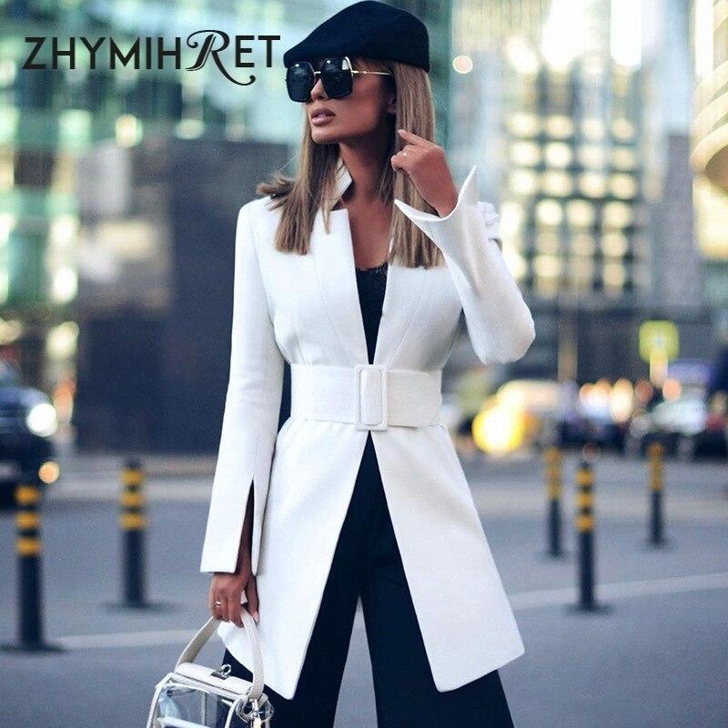 ZHYMIHRET 2019 Autumn Winter V Neck Blazer Feminino Long Split Sleeve Coat Belt Women Outerwear Elegant Office Lady Long Suits