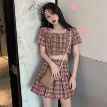 Fairy-Dress Retro Summer Two-Piece Short-Sleeve Navel Grandiflorum Pleated-Versatile