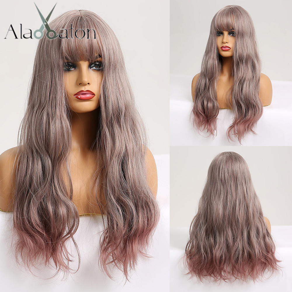 ALAN EATON Long Wavy Synthetic Wigs With Bangs Ombre Gray Ash Purple Pink High Temperature Fiber Women Wig Lolita Cosplay Wigs