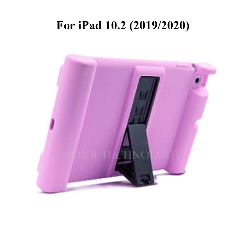 purple Purple Soft Shockproof Silicone Cover Kickstand Case for iPad 10 2 A2198 A2200 A2197 A2270 A2428 A2429