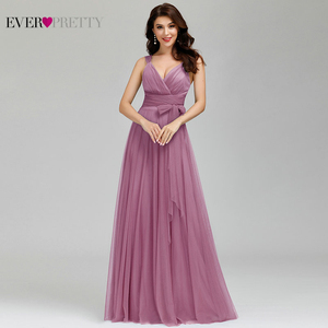 Image 5 - Prom Long Elegant Dresses Ever Pretty EP07303 V neck Sleeveless A line Tulle Teal Prom Dresses 2020 Pink Sexy Vestido Formatura