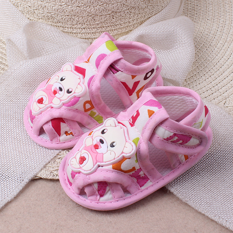 0-1 Year Old Summer New Cartoon Bear Baby Shoes Cloth Soft Bottom Toddler Sandals Baby Children's Shoes Causal Footwear