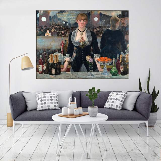 Edouard Manet A Bar At The Folies Oil Painting Canvas 1