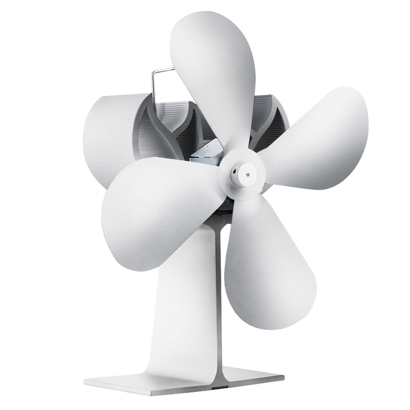 4 Blade Heat Powered Wood Stove Fan For Log Wood Burner/Fireplace Eco Fan Silver