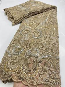 Nigerian Lace Fabrics Beaded Handmade Gold-Latest African French High-Quality for Wedding-Sewing-Ya3619b-1