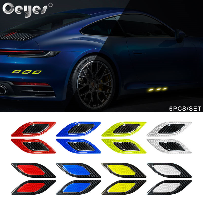Ceyes 6pcs/set 3D Car Styling Carbon Fiber Bumper Strips Safety Warning Tape Secure Reflector Stickers Car Exterior Accessories