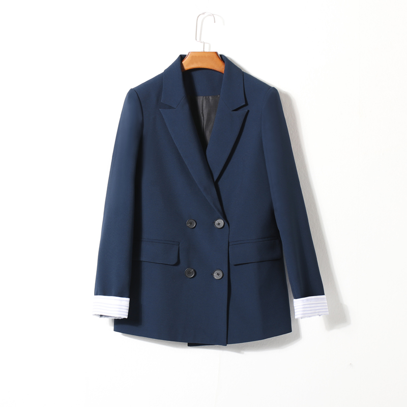 Korean Casual Ladies Blazer Solid Blue Loose Simple Suit Jacket Stylish Les Vestes Femmes Retro Spring Women Jacket New MM60NXZ