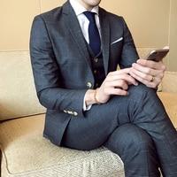 (Пиджак + жилетка + брюки) Высококачественный модный мужской деловой повседневный костюм в клетку, комплект из 3 предметов, свадебный смокинг...