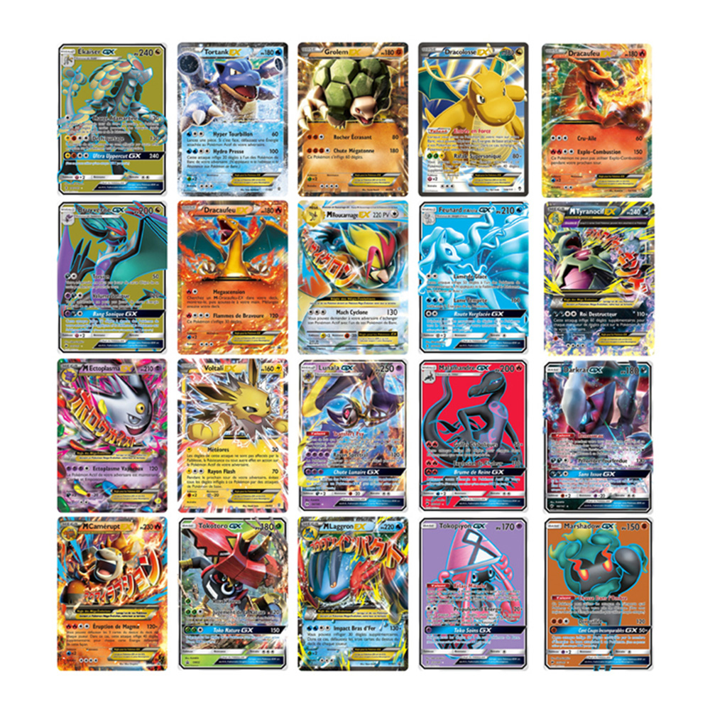 New TOMY 100 PCS French Pokemon Card Lot Featuring 60 GX 20 EX 20 MEGA