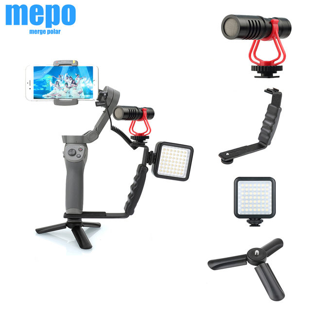 LED Light Microphone Tripod Handheld Hand Grip Mount + Hot Shoe For DJI Osmo Handheld Stabilizer Kit Osmo Mobile 4 3 Accessories
